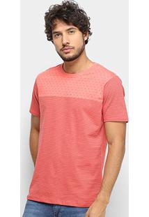 Camiseta Gajang Listrada Mini Print Masculina - Masculino-Coral