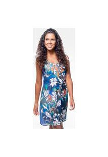 Vestido 101 Resort Wear Curto Evasê De Alças Crepe Estampado Tie Dye Flor