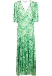 Ganni Vestido Midi Com Estampa De Rosas - Verde