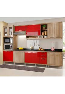 Cozinha Completa Com Tampo 15 Portas 5835 Argila/Vermelho - Multimóveis