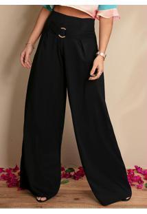 Calça Pantalona Preta Com Fivela Frontal