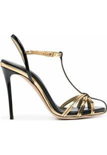 Casadei Sandália Com Tira Em T - Dourado