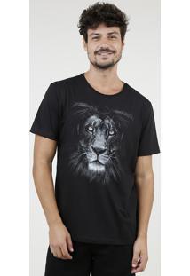 Camiseta Masculina Leão Manga Curta Gola Careca Preta