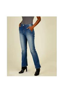 Calça Jeans Flare Feminina Bolsos Marisa