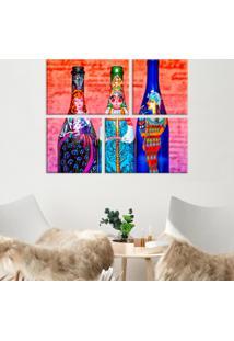Conjunto De 4 Telas Decorativas Em Canvas Garrafas Pintadas Único Love Decor