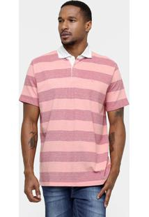 Camisa Polo Richards Listrada Piquet - Masculino-Coral