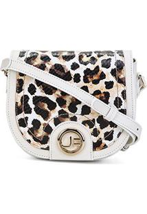 Bolsa Couro Jorge Bischoff Mini Bag Arredondada Feminina - Feminino-Branco