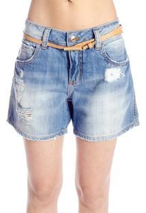 Bermuda Jeans Destroyed Colcci Feminino - Feminino-Azul