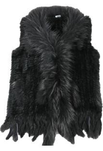 Colete Alegra Eastern Fur Com Franjas Preto