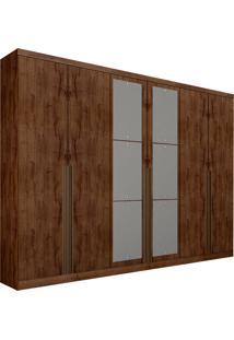 Guarda-Roupa Casal Com Espelho 6 Portas E 8 Gavetas Quebec- Novo Horizonte - Canela