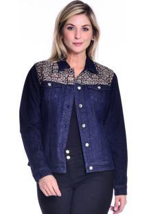 Jaqueta Loony Jeans Com Jacquard Azul