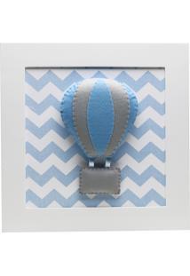 Quadro Decorativo Balão Chevron Bebê Infantil Menino Potinho De Mel Azul