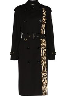 Burberry Trench Coat Com Estampa De Leopardo - Preto