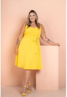 Vestido Crepe Maresias Com Contas Amarelo Plus Size