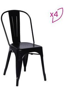Or Design Jogo De Cadeiras De Jantar Retrã´ Preto 4Pã§S