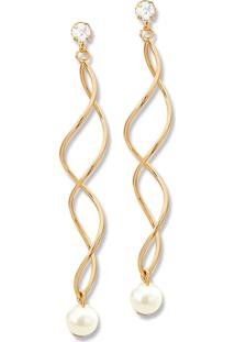 Brinco Le Diamond Espiral Com Pã©Rola Dourado - Dourado - Feminino - Dafiti