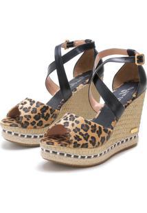 Sandã¡Lia Sb Shoes Anabela Ref.3205 Onã§A/Preto - Onã§A/Preto - Feminino - Couro - Dafiti