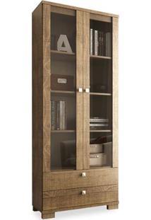 Estante Para Livros Com Portas De Vidro C604, Rústico