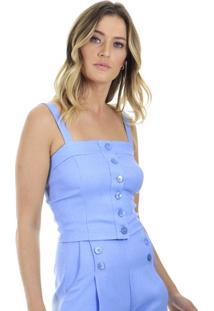 Blusa Cropped Lisa Com Alã§A E Botãµes Aha - Azul - Feminino - Dafiti