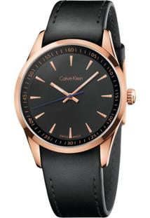 Relógio Calvin Klein Masculino Em Couro Preto