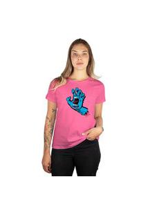 Camiseta Santa Cruz Screaming Hand Feminina Rosa