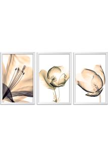 Quadro Oppen House 60X120Cm Flores Abstrato Transparentes Moldura Branca Estilo Raio-X Decorativo Interiores Mod:Oh0015