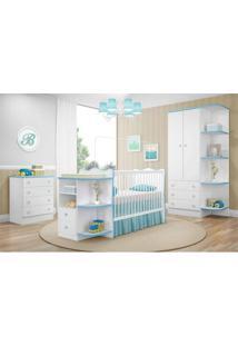 Quarto Infantil Completo Doce Sonho Com Guarda-Roupa, Berço/Cômoda E Cômoda Branco Azul - Qmovi