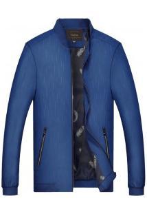 Jaqueta Bomber Masculina Slim Lisa Com Zíper Design Estampado - Azul