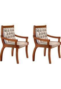 Conjunto Com 2 Cadeiras De Jantar Pérola Ii Imbuia E Bege