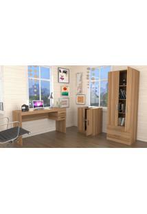 Conjunto Escritório Office Plus Appunto 3 Peças: Escrivaninha Com 2 Gavetas, Balcão E Armário Com Portas E Gavetas - Castanho
