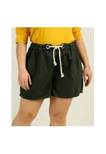 Short Plus Size Feminino Sarja Amarração
