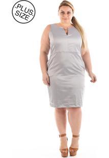 Vestido Plus Size Confidencial Extra Casual Urban Satin Cetim