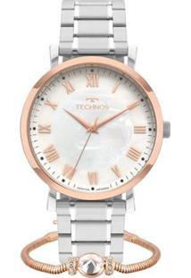 Relógio Technos Dress + Pulseira Feminino - Feminino-Prata