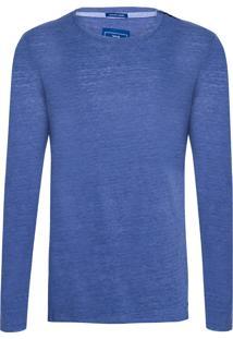 Camiseta Masculina Malha De Linho On Deck - Azul