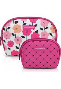 Kit De Necessaire De 2 Peças Jacki Design Pink Lover Pink
