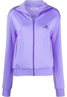 Balenciaga Zip-Up Track Jacket - Roxo