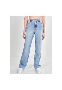Calça Jeans Reta Com Recorte Nos Bolsos
