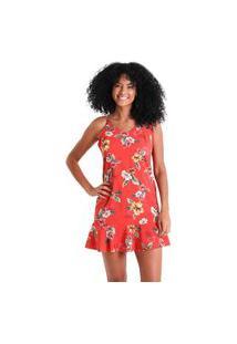 Vestido Com Babados Flora - Vermelho - Líquido