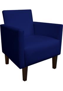 Poltrona Decorativa Compacta Jade Corino Azul Marinho Com Pés Baixo Chanfrado - D'Rossi