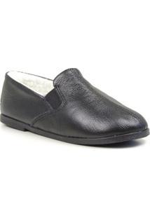 Sapato Conforto Forrada Lã Sintética Masculino - Masculino-Preto