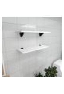 Kit 2 Prateleiras Para Banheiro Em Mdf Suporte Tucano Branco 60X20Cm Modelo Pratbnb11