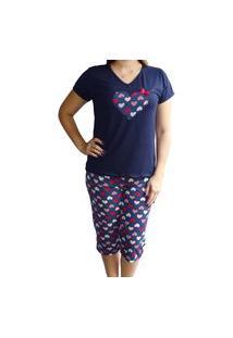 Pijama Capri Calça Pescador Blusa Com Manga E Aplicação - Azul Marinho