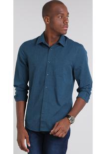 Camisa Masculina Comfort Com Bolso Manga Longa Azul Petróleo