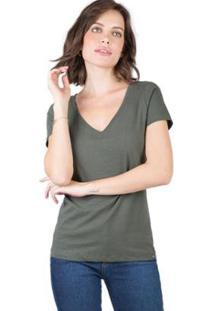 Blusa Gola V Básica Taco - Feminino-Verde