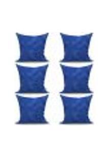 Conjunto De Capas Para Almofada Com 6 Peças Medalhão Azul 60X60 Cm