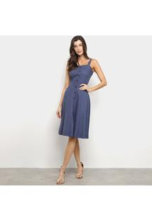 Vestido Mercatto Midi Linho Botões - Feminino-Azul Escuro