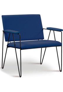 Poltrona Loridane Aco Preto Assento E Encosto Estofado Linho Azul Daf