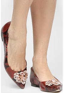 Sapatilha Shoestock Cobra Pedraria - Feminino-Caramelo