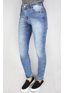 Calça Jeans Feminina Pitt Supernova Cropped Skinny Azul - 42