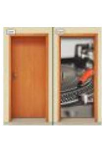 Adesivo Decorativo De Porta - Toca Discos - 1330Cnpt